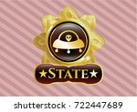 shiny emblem with ufo with... | Shutterstock .eps vector #722447689