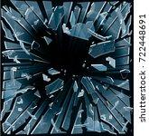 broken glass flies in different ... | Shutterstock .eps vector #722448691