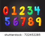 rainbow font  123 jelly numeral ... | Shutterstock .eps vector #722452285