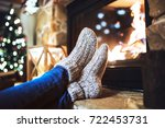 feet of unrecognizable woman in ... | Shutterstock . vector #722453731