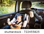 unrecognizable man driving with ... | Shutterstock . vector #722455825