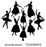 ballerina silhouettes | Shutterstock .eps vector #722458495