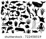 aquatic life vector silhouettes   Shutterstock .eps vector #722458519