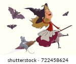 cheerful young witch flying on... | Shutterstock .eps vector #722458624