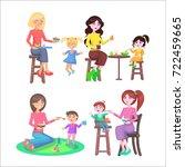mother feeding naughty children ... | Shutterstock . vector #722459665
