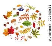 autumn leaves  pumpkin... | Shutterstock .eps vector #722460691
