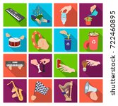 musical instrument  garbage and ... | Shutterstock .eps vector #722460895