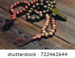 wooden rosary on the table ... | Shutterstock . vector #722462644