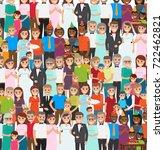 family members standing in... | Shutterstock . vector #722462821