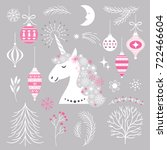 set of holiday design elements... | Shutterstock .eps vector #722466604