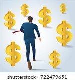 businessman running with gold... | Shutterstock .eps vector #722479651