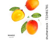 creative layout made of mango... | Shutterstock . vector #722481781