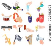 musical instrument  garbage and ... | Shutterstock .eps vector #722483575