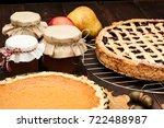 Pumpkin Homemade Pie On Wooden...