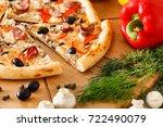 supreme pizza | Shutterstock . vector #722490079