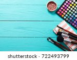 cosmetics on blue wooden... | Shutterstock . vector #722493799