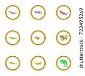 color lizard icons set. cartoon ... | Shutterstock .eps vector #722495269