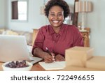 smiling young african woman...   Shutterstock . vector #722496655