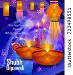 happy diwali light festival of... | Shutterstock .eps vector #722498551