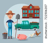farm animals and house. village.... | Shutterstock .eps vector #722506207