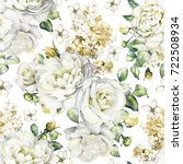 Stock photo seamless pattern with flowers and leaves on white background watercolor floral pattern flower 722508934