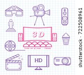 cinema vector set of icons | Shutterstock .eps vector #722508961