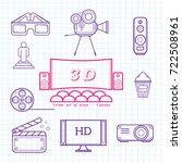 cinema vector set of icons | Shutterstock .eps vector #722508961