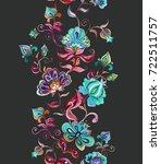 whimsical folk art ornament  ...   Shutterstock . vector #722511757