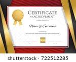 luxury certificate template... | Shutterstock .eps vector #722512285