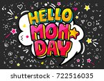 lettering hello monday message... | Shutterstock .eps vector #722516035