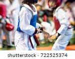 moment of taekwondo kids in the ...   Shutterstock . vector #722525374