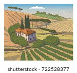 countryside scenery in tuscany  ... | Shutterstock .eps vector #722528377