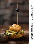 tapas on crusty bread  ... | Shutterstock . vector #722530474
