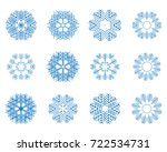 different winter snowflakes of... | Shutterstock .eps vector #722534731