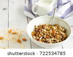 homemade muesli with oats  nuts ... | Shutterstock . vector #722534785