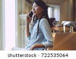 beautiful asian woman with long ... | Shutterstock . vector #722535064