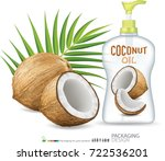 coconut oil bottle skin care... | Shutterstock .eps vector #722536201