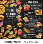 fast food sketch price menu... | Shutterstock .eps vector #722543251