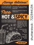 taco fast food sketch poster of ... | Shutterstock .eps vector #722544154