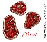 meat beefsteak or tenderloin... | Shutterstock .eps vector #722544247