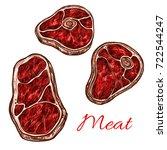meat beefsteak or tenderloin... | Shutterstock .eps vector #722544247
