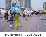 Small photo of Astana, Kazakhstan - July 6, 2017: Installation of sculptures representing participants of EXPO. UN Women, UNDP, OFID, UNESCO, IAEA, Germany, Island