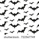 bat silhouette seamless pattern.... | Shutterstock .eps vector #722567749