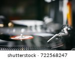 dj party turntables record... | Shutterstock . vector #722568247