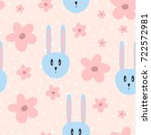 repeated flowers and rabbit... | Shutterstock .eps vector #722572981