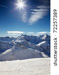 sun glares at the sky over alp... | Shutterstock . vector #72257389