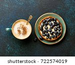 blueberry tart with cup of... | Shutterstock . vector #722574019