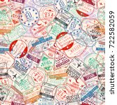 passport stamp seamless pattern.... | Shutterstock .eps vector #722582059
