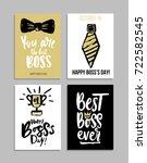 boss's day card set with modern ... | Shutterstock .eps vector #722582545