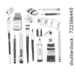 hand drawn art tools and... | Shutterstock .eps vector #722586445